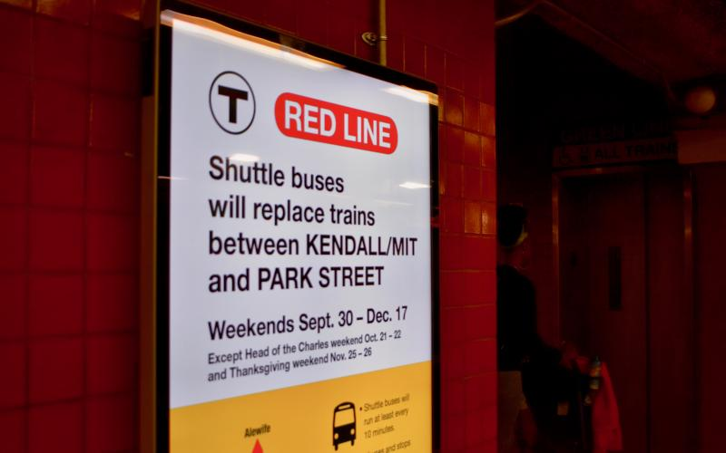 The MBTA posted signs alerting of service changes in affected stations, including Boston's Park Street Station. The Red Line service is suspended on weekends as a result of construction on Longfellow Bridge. Photo Credit: Paige Smith/BU News Service