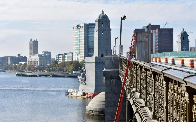 "The Longfellow Bridge's ""salt and pepper"" towers were carved in their current places and officially unveiled in 1908. The bridge, which connects the cities of Boston and Cambridge, has been undergoing structural repairs since 2013, but weekend service of the Red Line is suspended through mid-December to work on the tracks that travel over the bridge. Photo Credit: Paige Smith/BU News Service"