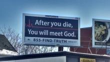 menacing billboard with red flatline
