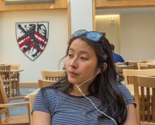 Nadya Okamoto on a phonecall with DivaCup for her non-profit organization,PERIOD.