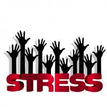"The word ""Stress"" in red capital letters, with many darkened cartoon hands rising up from word."